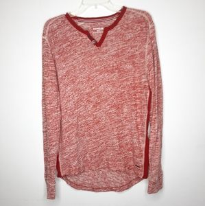 Express men red long sleeve high to low tee
